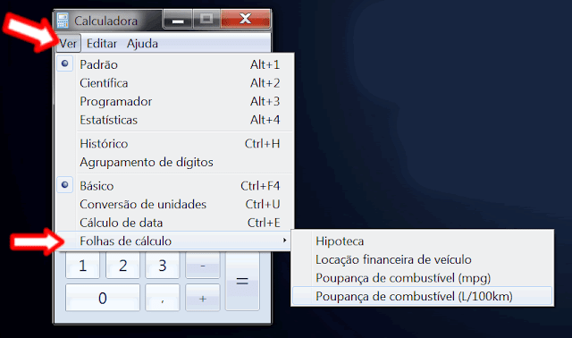 funções Calculadora do Windows