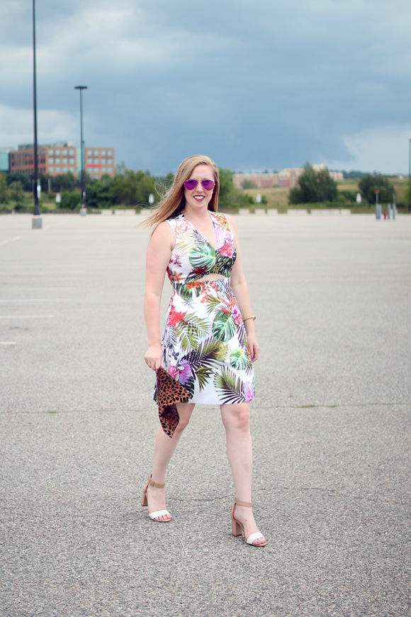 cut-out dress, clover canyon for bloomingdales, botanical print dress, palm leaf print dress, boston style blogger, boston fashion blog, pink ray-ban aviators, pink ray ban aviators