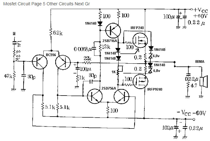 100W Mosfet Power Amplifier Circuit Image - Home Wiring ...