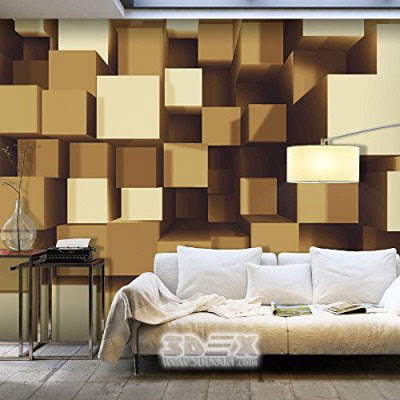 3D Wallpaper Patterns For Optical Illusion In Living Rooms