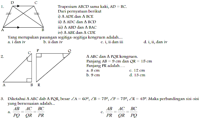 Download Soal UTS Matematika SMP Kelas 9 Semester 1 ktsp 2006 terbaru