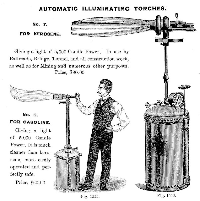 1900 automatic illuminating torches, 1900 factory lighting