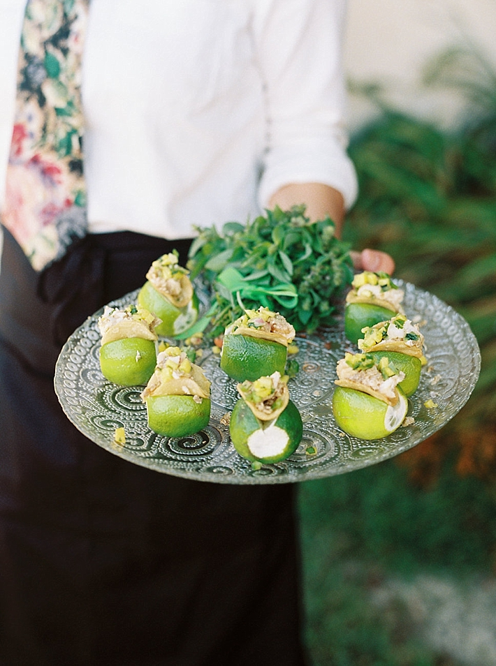 Mini tacos and limes appetizers | Photo by Matoli Keely Photography