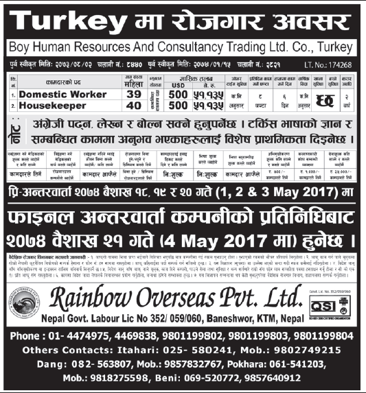 Jobs in Turkey Europe for Nepali, Salary Rs 51,135