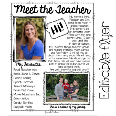 Editable flyer and template for Meet the Teacher night