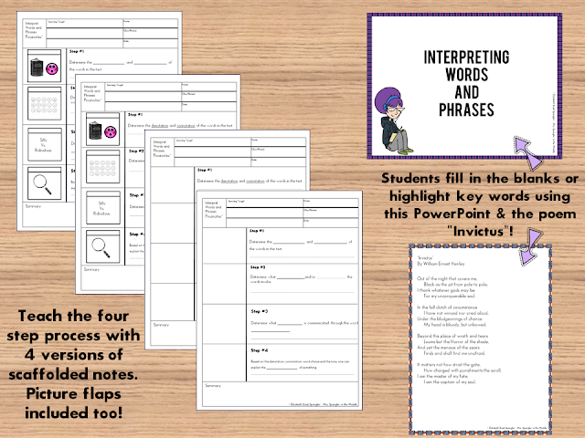 Teach your middle school students a 4 step process for interpreting words and phrases in poetry with these structured picture notes!  #interactivenotebooks