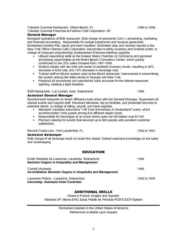 Sample resume for restaurant manager sample resumes for Resume templates for restaurant managers