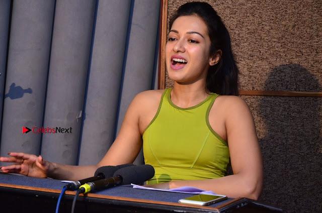 Actress Catherine Tresa Pos during Self Dubbing for Gautham Nanda Movie  0002.JPG