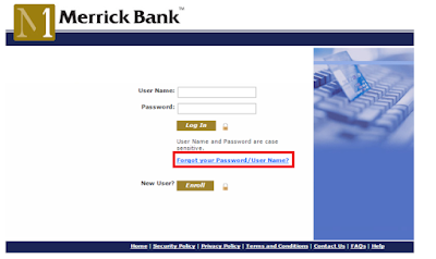 Merrick Bank credit card Forgot User Name and Password Page