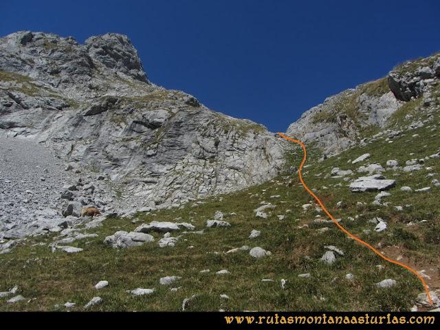 Ruta Peña Castil y Cueva del Hielo: Tramos por la canal de Fresnedal
