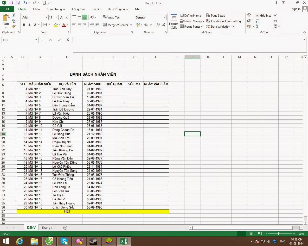 Tạo Mã Nhân Viên Trong Excel Vô Cùng Đơn Giản, Cách Nhập Mã Tự Động Hiện Tên – Lingocard.vn
