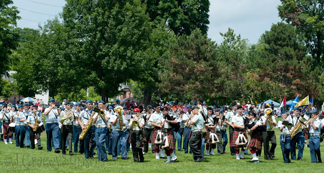 "The ""coming together"" of the massed bands for the Orillia 2015 Scottish Festival"