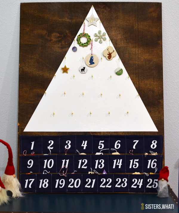 DIY modern advent calendar with painted little ornaments