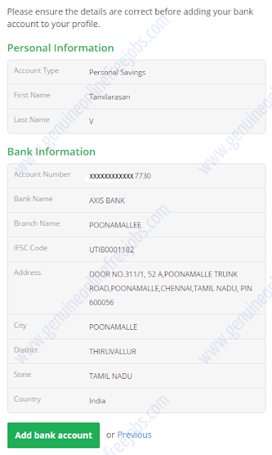 Confirmation of bank account details