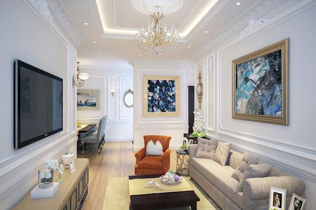 Mẫu thiết kế nội thất phòng khách căn hộ The Emerald