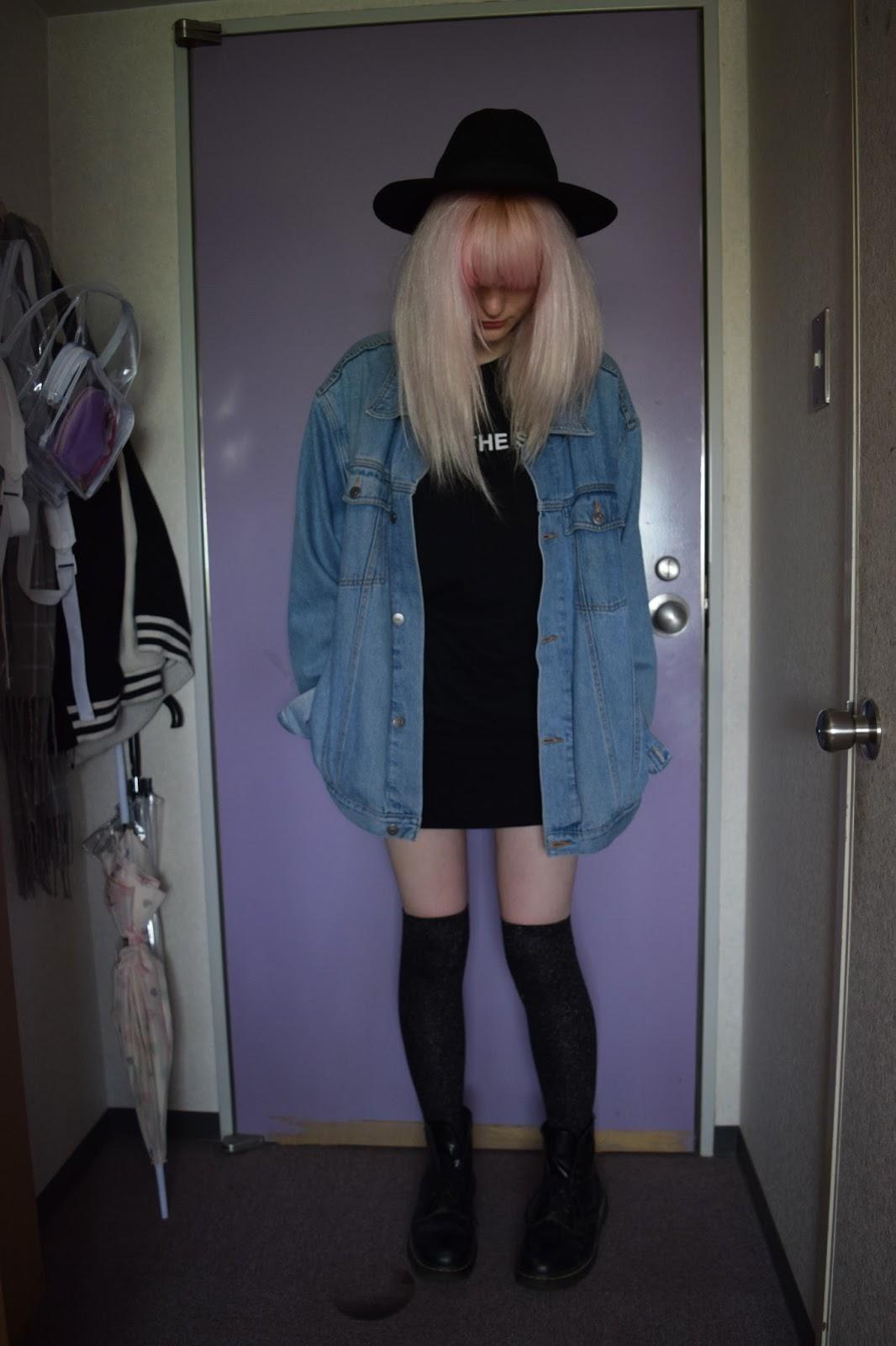 Grunge pink hair OOTD