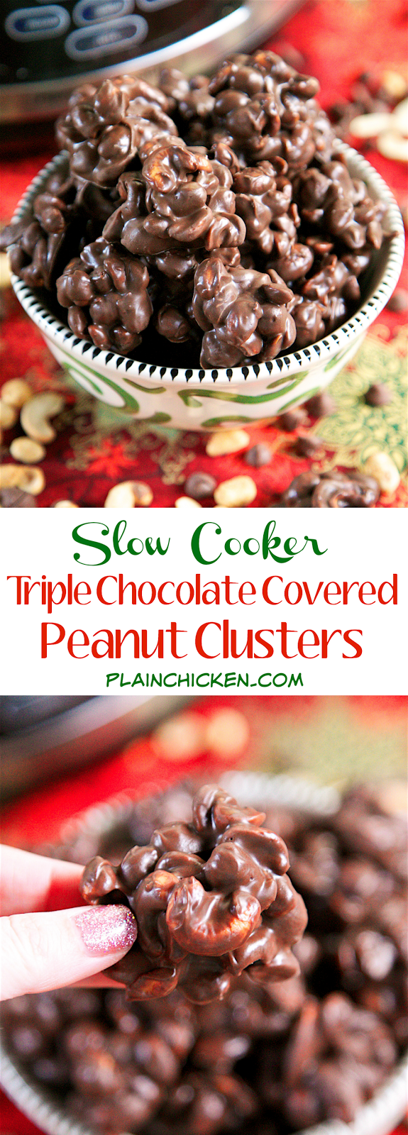 Slow Cooker} Triple Chocolate Covered Peanut Clusters - Plain Chicken