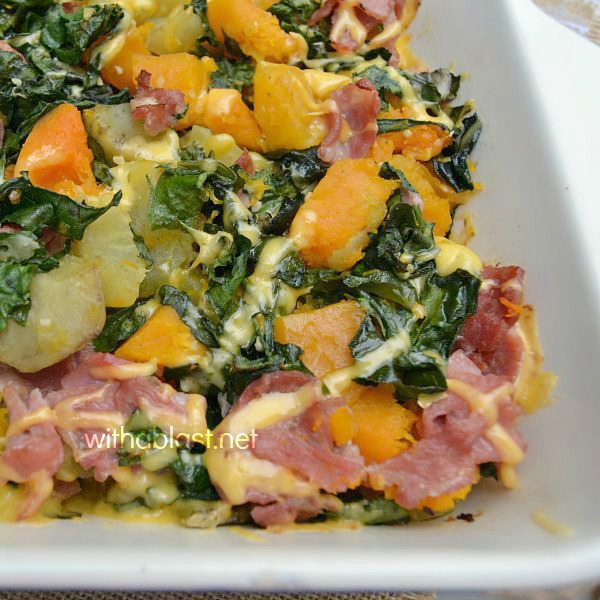 Bacon Butternut and Sweet Potato Casserole is perfect to serve for lunch or dinner - leave out the Bacon and you have a delicious, healthy side dish