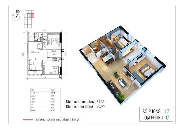 Thiết kế căn hộ số 12 Eco-green city