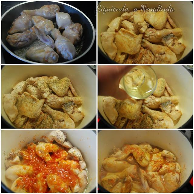 Siguiendo a nenalinda pollo guisado con champi ones - Cocinar en cocotte ...
