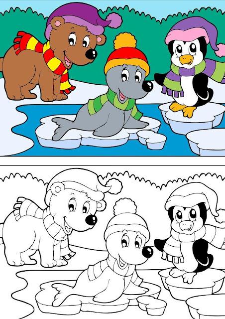 dibujo de focas y pinguinos en el hielo  para colorear
