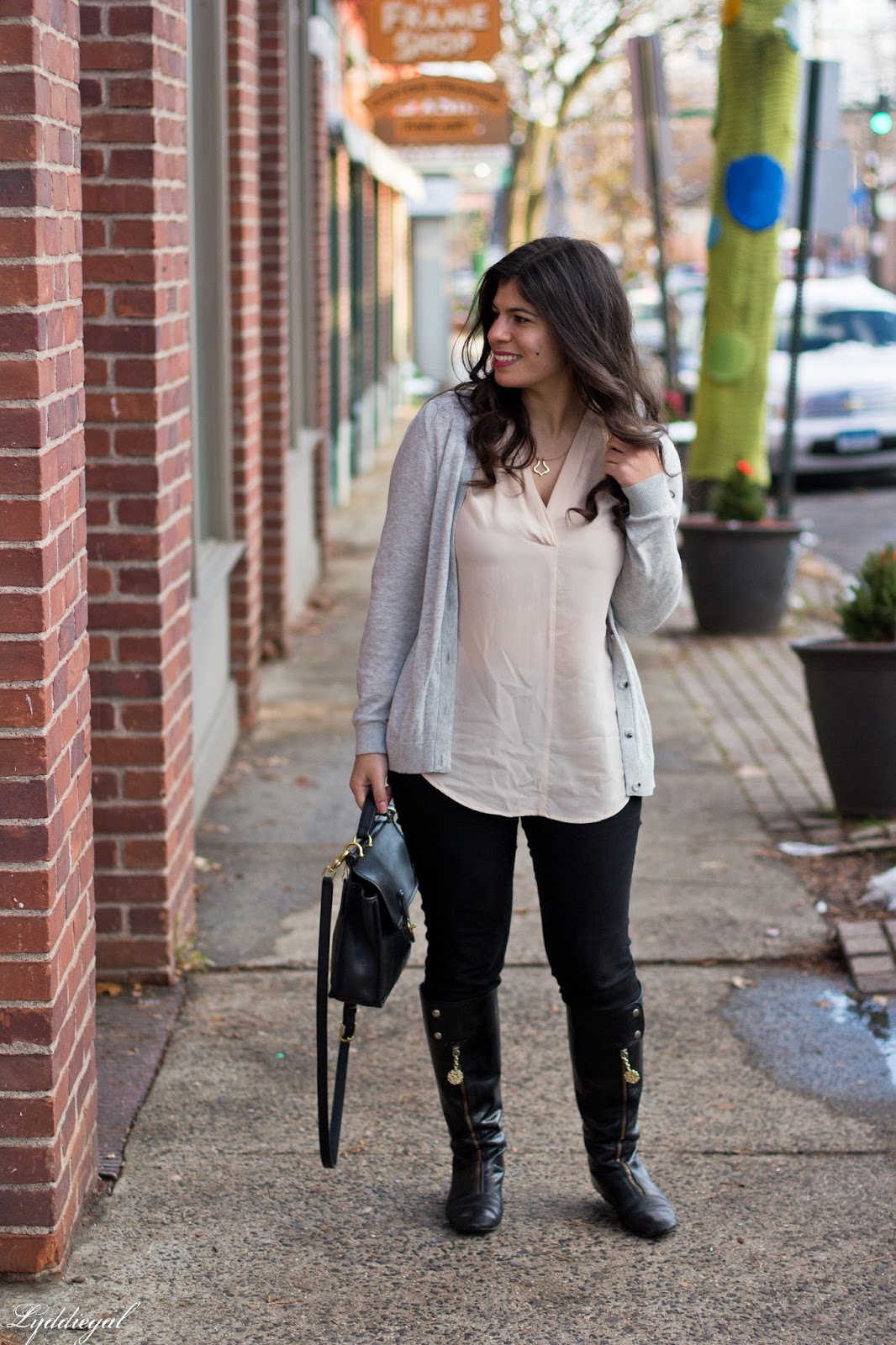 CT Fashion Blogger wearing a grey cardigan and silk blouse for winter
