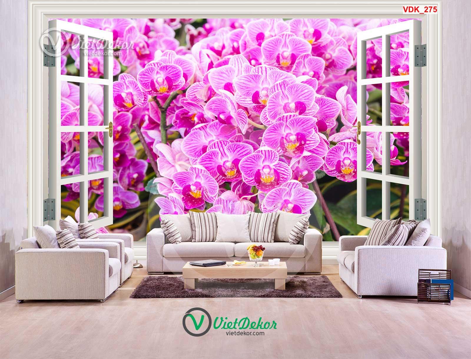 Tranh 3d cửa sổ hoa phong lan