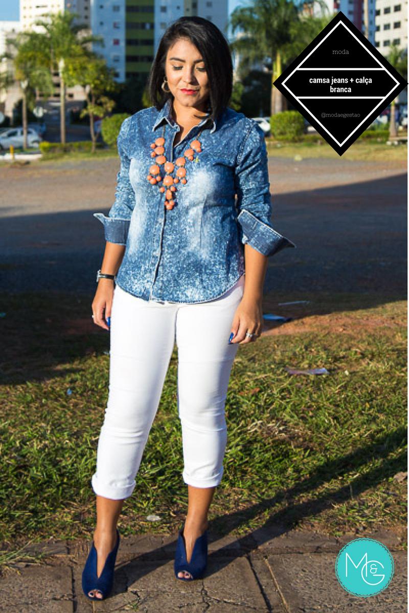 06b6123441 Moda e Gestão  Camisa Jeans e calça branca para um look casual de ...