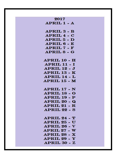 AtoZChallenge 2017 posting calendar