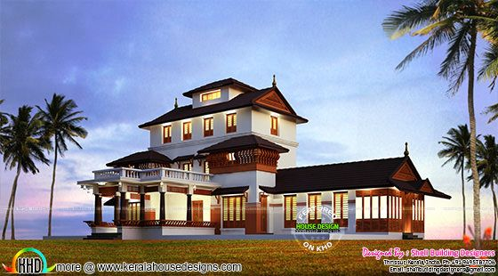 Kerala mana architecture night view