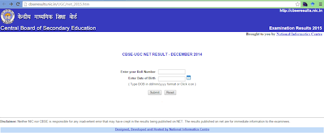 ugc net examination - dec 2014 - CBSE Exam Results