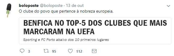 Benfica no top da UEFA