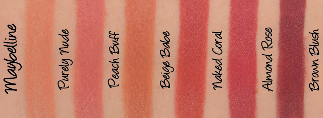 Maybelline Colorsensational Inti-Matte Nudes Lipsticks Swatches & Review