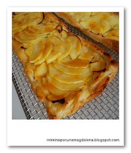 Bandas de hojaldre y manzana