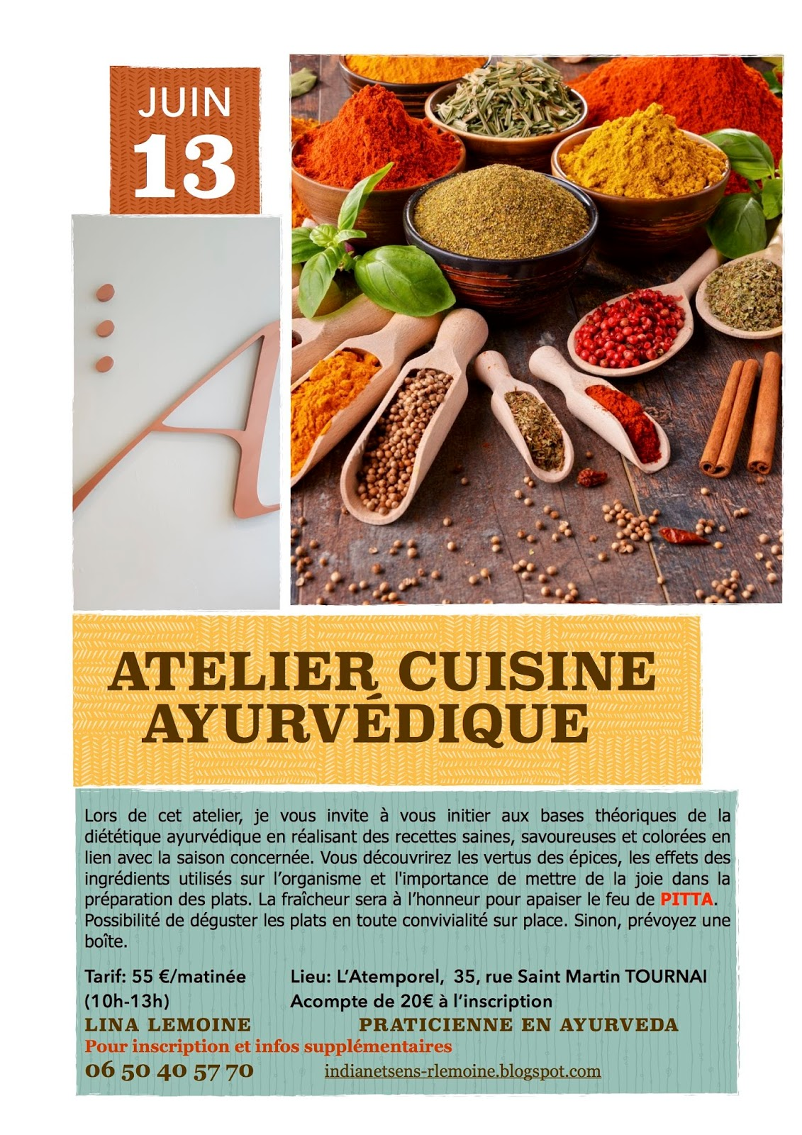 Yurv da authentique a lille massage lina agenda juin for Ateliers cuisine lille