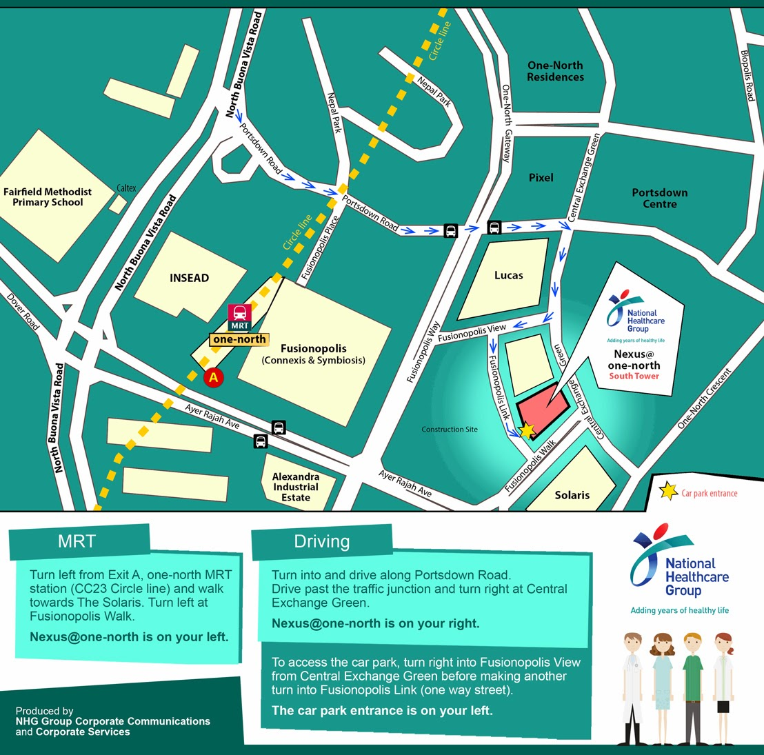 welcome: map ~ nhg at nexus@one-north ~ directions to our new office