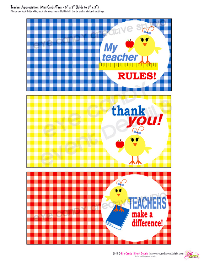mini cards, my teacher rules, teachers make a difference, thank a teacher
