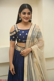 Niveda Thomas in Lovely Blue Cold Shoulder Ghagra Choli Transparent Chunni ~  Exclusive Celebrities Galleries 083