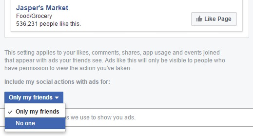 Exclude social actions with ads