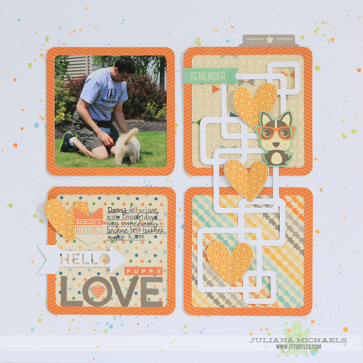Hello Puppy Love Scrapbook Page featuring 17turtles Digital Cut File Let's Play and Jillibean Soup