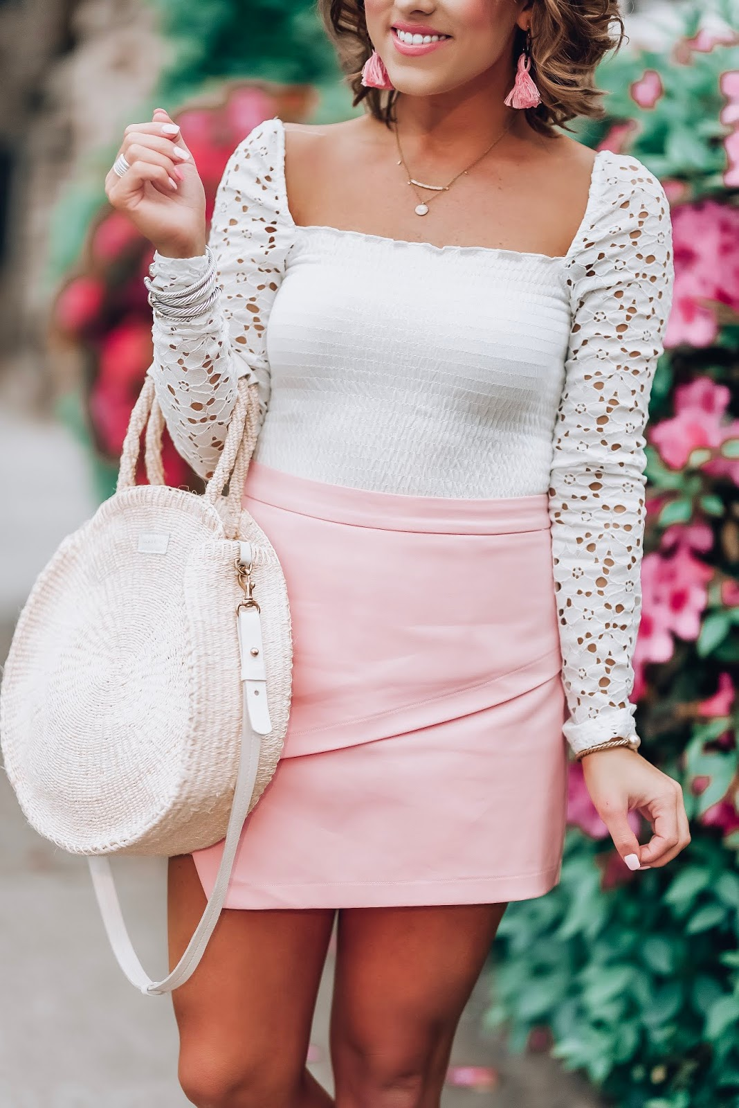 Under $100 Pink Skort + Lace Sleeve Top in Charleston - Something Delightful Blog  #springstyle #summerstyle