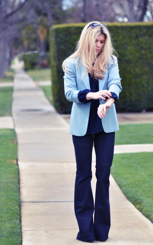 monochrome blue outfit