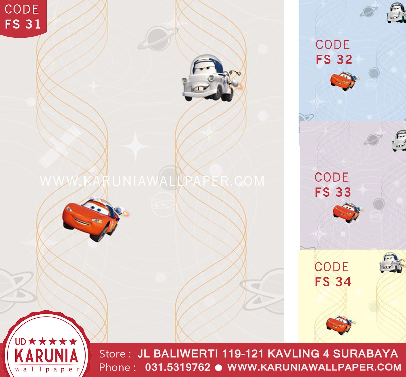 jual wallpaper anak dinding cars lightning mcqueen disney