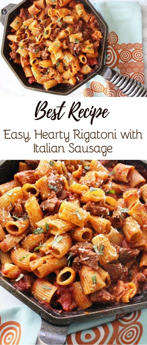 Easy, Hearty Rigatoni with Italian Sausage #dinnerrecipe #food