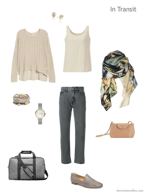 casual travel outfit in beige and grey