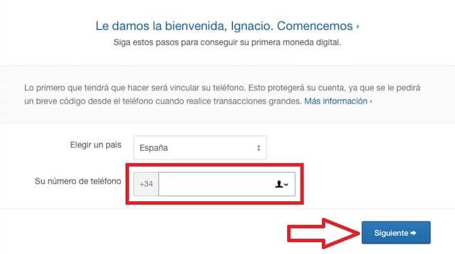 registro en coinbase validar cuenta número teléfono
