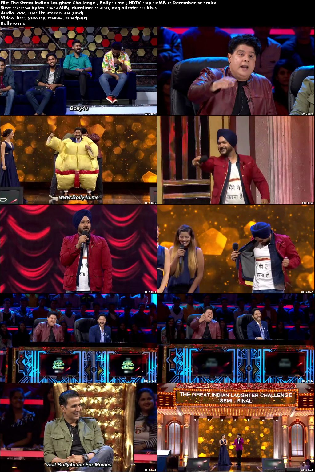 The Great Indian Laughter Challenge HDTV 480p 140MB 17 Dec 2017 Download