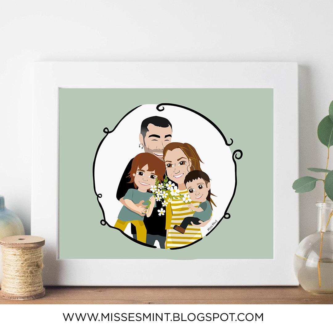 ilustraciones personalizadas, regalos originales para novios, miss mint