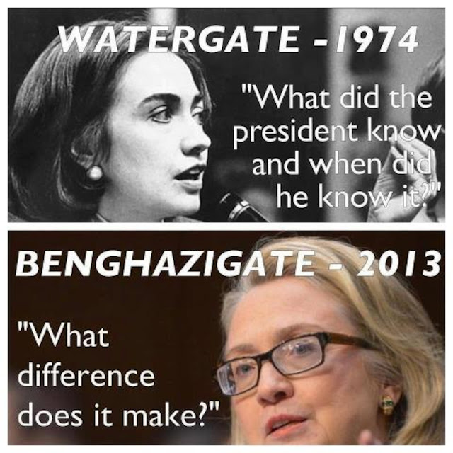 Hillary Clinton Watergate 1974 What did the president know and when did he know it? and Benghazigate 2013 What difference does it make?