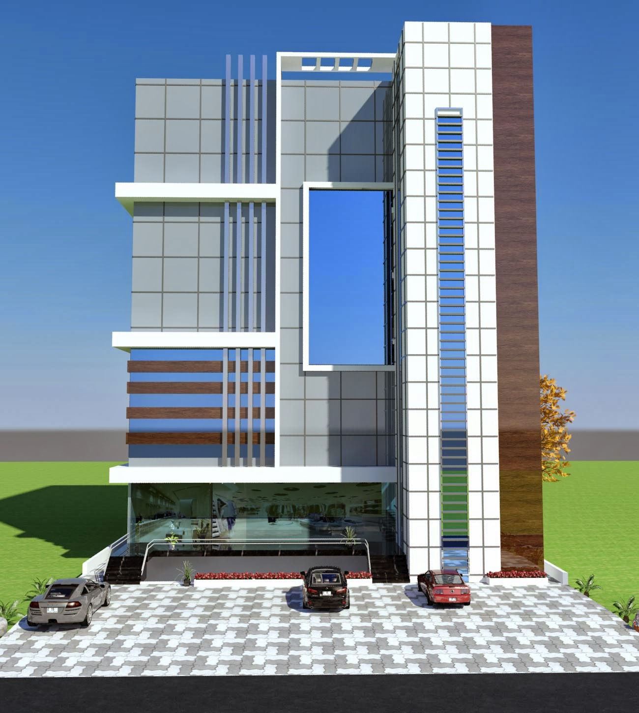 3d Front Elevation Com Commercial Plaza Plan 3d Front